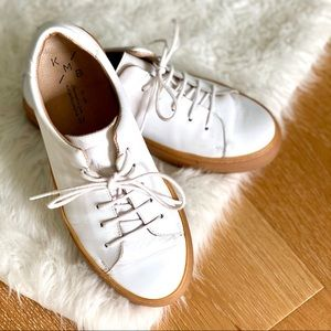 Anthropologie KMB Dion White Leather Sneakers